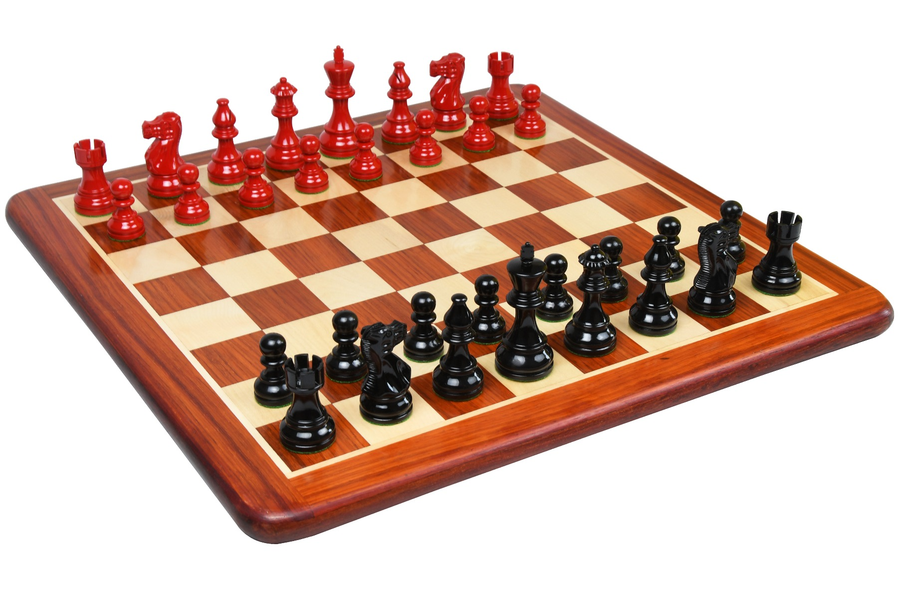 """Clearance - Combo of The Smokey Staunton Series Chess Pieces in Painted Box Wood - 3.8"""" King with Wooden Chess Board"""