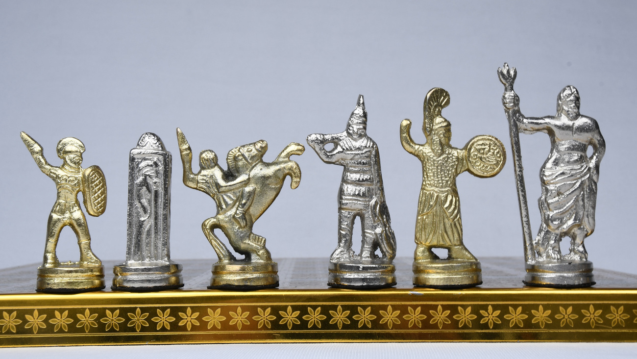 Clearance - The Alexander Series Brass Chess Pieces With Collectible Premium Chess Board in Shiny Gold & Silver Color