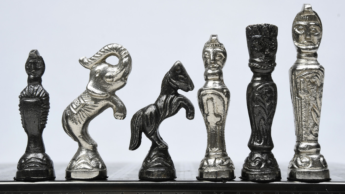 Clearance - Brass Chess Set Handmade Antique finish Vintage Style Figure Chess Set in Shiny Black & Silver Color