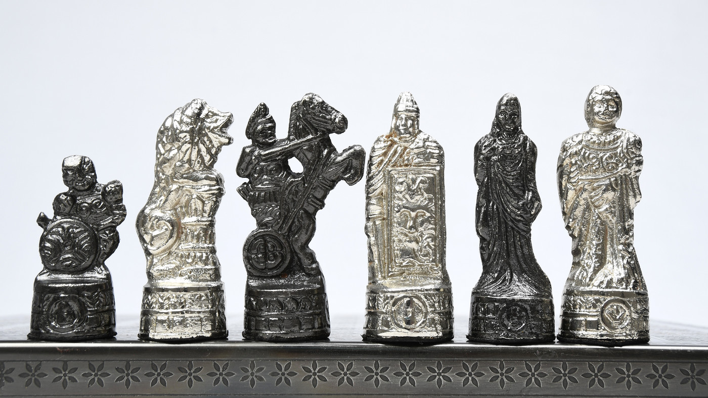 Clearance - Brass Metal Luxury Chess Pieces & Board Combo Set in Shiny Grey and Silver Color