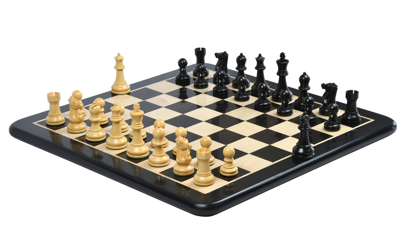 """Combo of  The Ultimate Series Staunton Chess Pieces Only in Ebonized / Boxwood - 3.75"""" King with Ebony Wooden Chess Board"""
