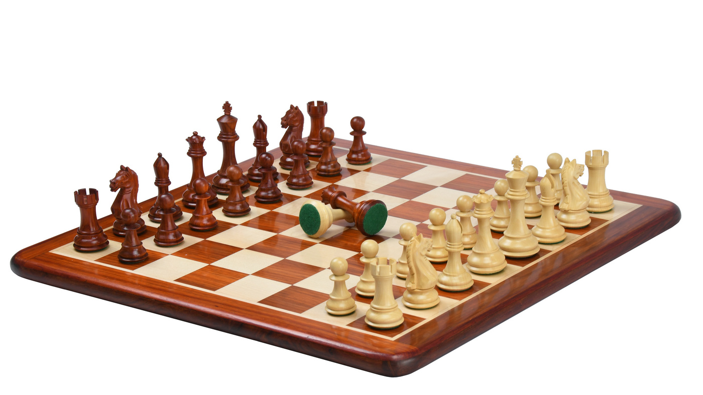 """Combo of Fierce Knight Staunton Series Chess Pieces in Bud Rosewood & Box Wood - 4.0"""" King with Wooden Chess Board"""