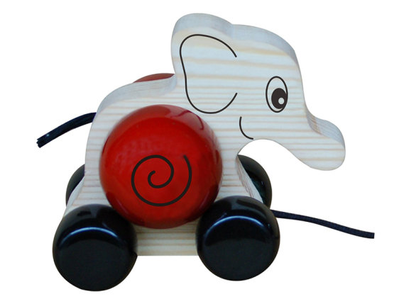 Handmade Natural Dyed Unique Elephant Wooden Red Pull Toy