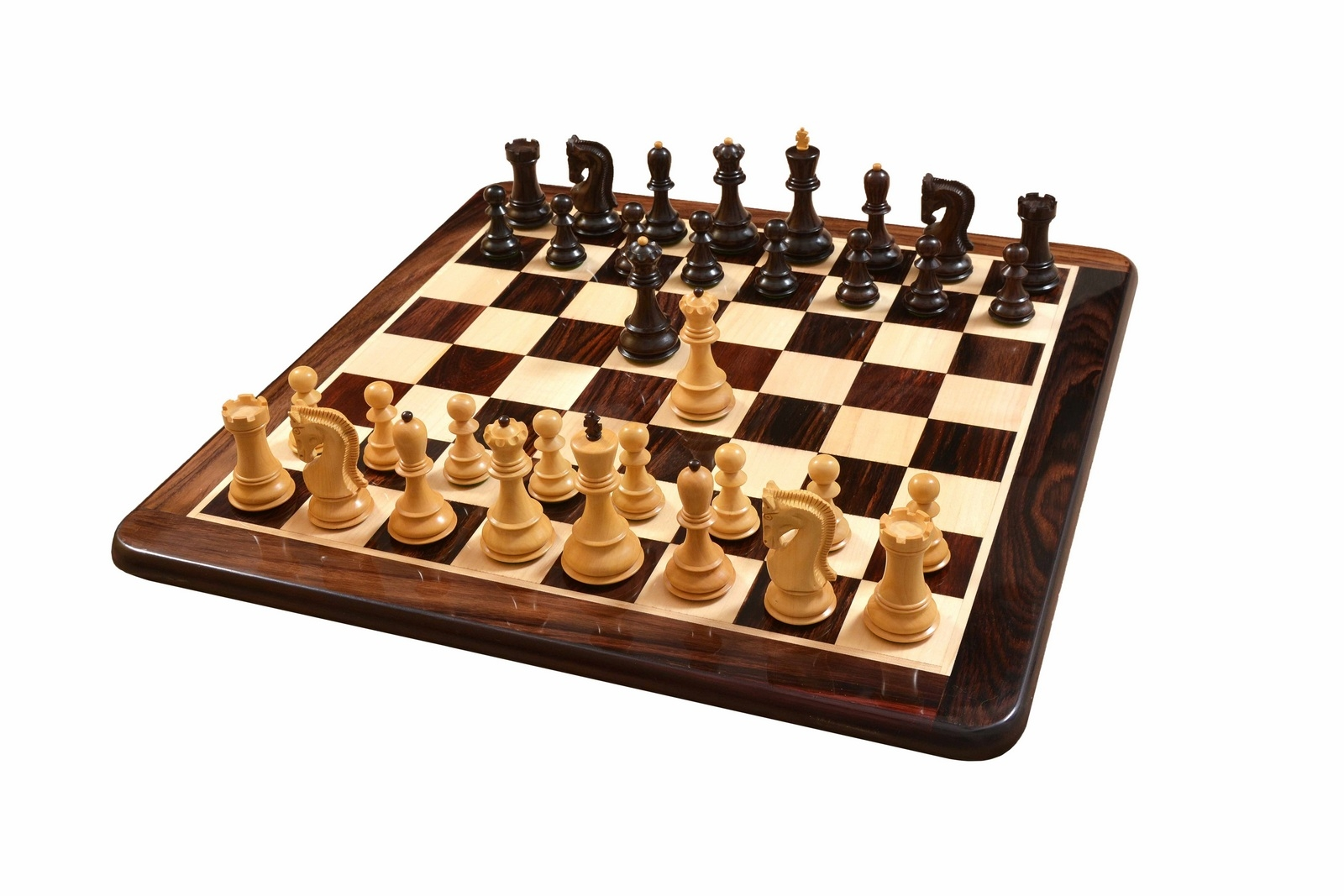 "The Zagreb '55 Series Chess Pieces & Wooden Board Combo in Rose / Box Wood - 3.8"" King"
