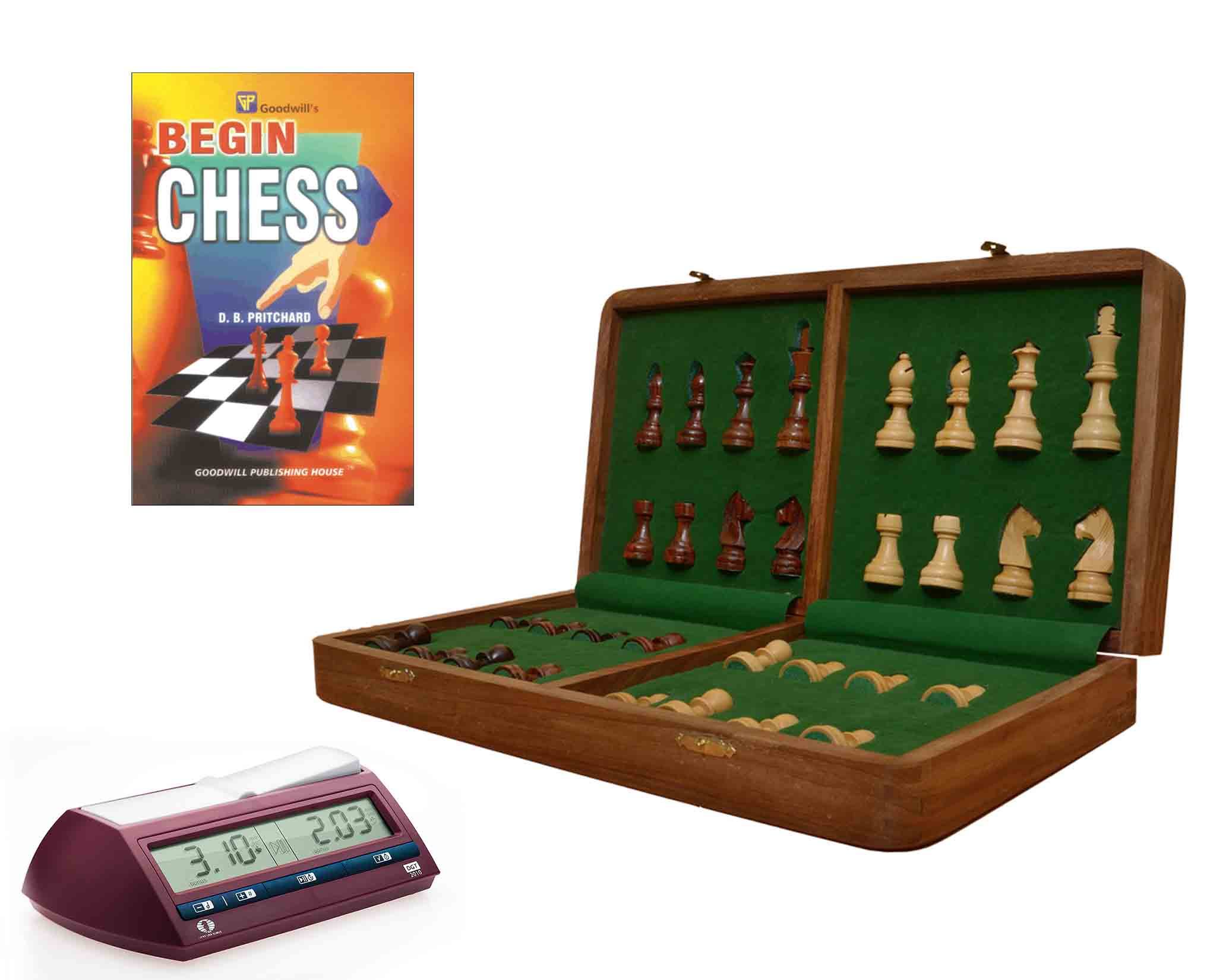 Travel Series Starter Chess Learning Kit with DGT Chess Clock & Free Chess Book